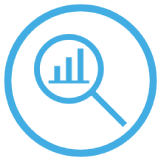 Icon magnifying glass with analytics